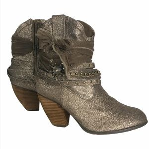 Not Rated Gold/Bronze Ankle Bootie Size 10